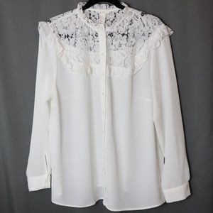 NWOT Ruffle Lace Button Down Top